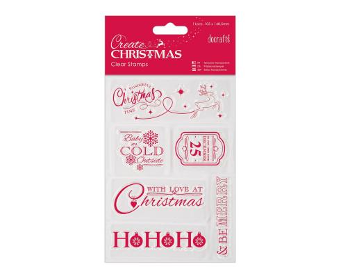 Kit de 11 mini sellos acrílicos - Iconos de Navidad