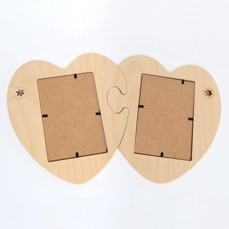 Marco de madera en forma de dos corazones puzzle IDEA1566