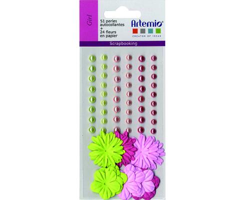 Kit de flores de papel y perlas autoadhesivas de Artemio color blanco