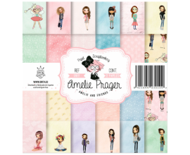 Kit de 12 papeles de scrapbook de doble cara Amelie and Friends