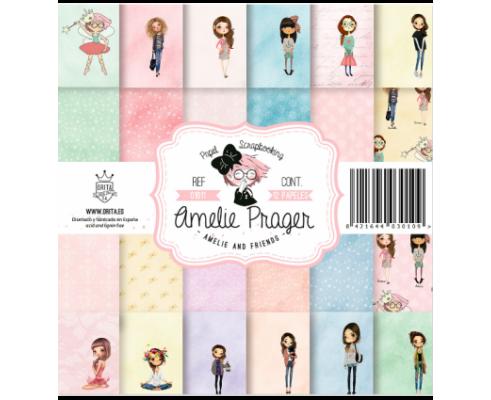Kit de 12 papeles de scrapbook de doble cara Amelie and Friends