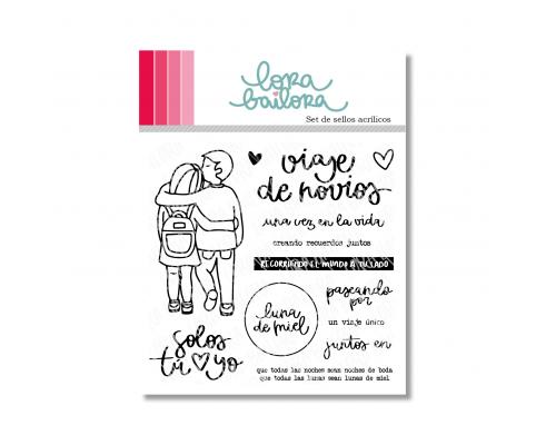 Kit de sellos acrílicos de Lora Bailora - Viaje de Novios