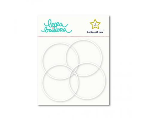 Kit de 4 anillas de 45 mm. de Lora Bailora color Amarillo