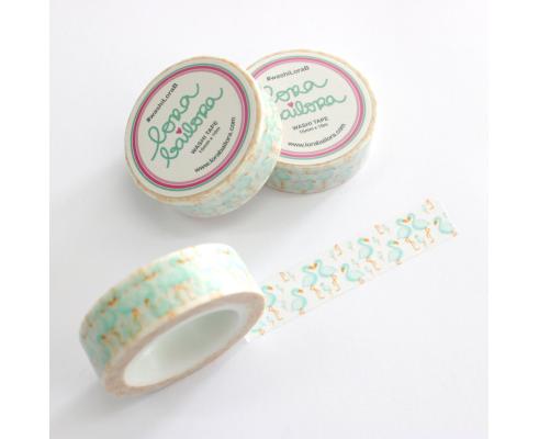 Washi tape de Lora Bailora 1,5 cm. x 10 m. Flamencos Mint