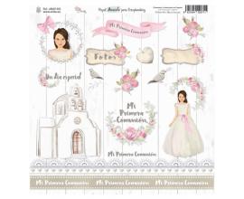 Papel Acuarela para scrapbook Edición Limitada Comunion de Amelie Prager Etiquetas 1