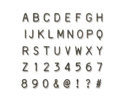 Kit de 140 troqueles Thinlits Alphanumeric label de Tim Holtz