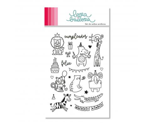 Kit de sellos acrílicos de Lora Bailora - Fondo Lettering col. Baviera