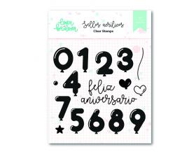 Kit de sellos acrílicos 10x10 cm. de Lora Bailora col. Bali - Feliz Aniversario