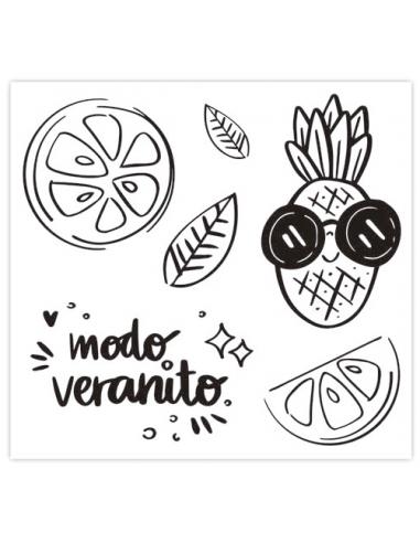 Set de sellos acrílicos 10x10 cm. de Sweet Möma col. Pink Lemonade - Piña Colada