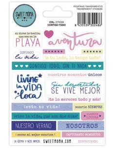 Set de pegatinas en castellano de Sweet Möma col. Pink Lemonade - Contigo Todo