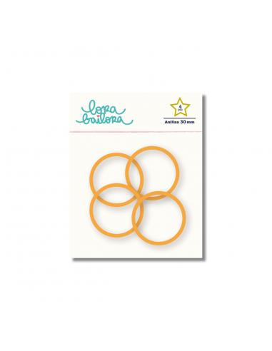 Kit de 4 anillas de 30 mm. de Lora Bailora color Naranja