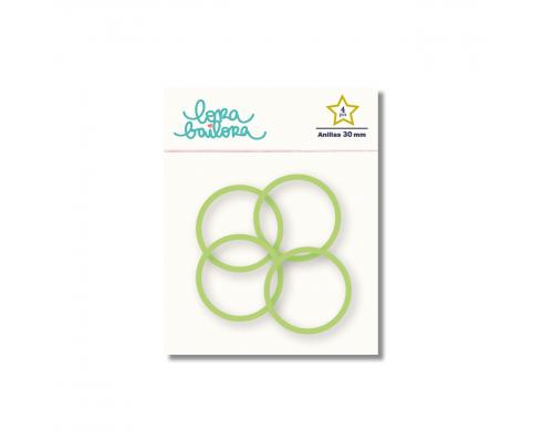 Kit de 4 anillas de 30 mm. de Lora Bailora color Verde