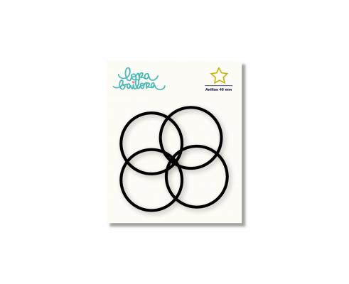 Kit de 4 anillas de 45 mm. de Lora Bailora color Negro