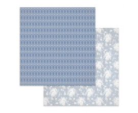 Papel de doble cara de Stamperia diseñado por Marisa Bernal col. Winter Star - Texture florecitas blancas fondo azul