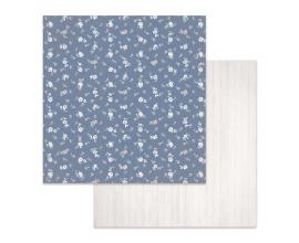 Papel de doble cara de Stamperia diseñado por Marisa Bernal col. Winter Star - Texture florecitas fondo azul