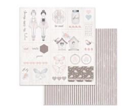 Papel de doble cara de Stamperia diseñado por Marisa Bernal col. Pink Soul - Nidos y mariposas