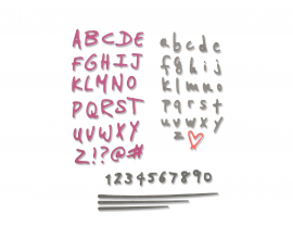 Kit de 4 Troqueles Thinlits de Sizzix Doodle alphabet y numbers by Sophie Guilar